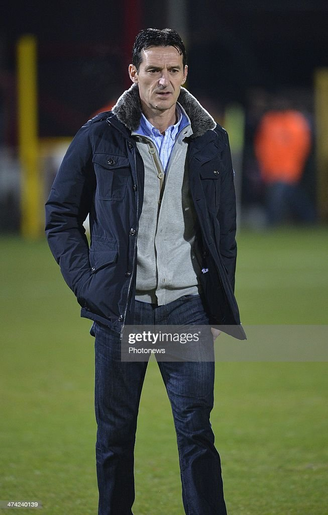 Cedomir Janevski Head coach of Mons during the Jupiler League match between KV Kortrijk and RAEC Mons on February 22, 2014 in Anderlecht, Belgium.