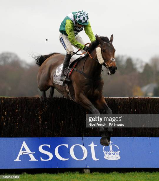 Cedre Bleu ridden by Ruby Walsh jumps the last fence to win The Shawbrook Bank Graduation Steeple Chase during the Christmas Meeting at Ascot...