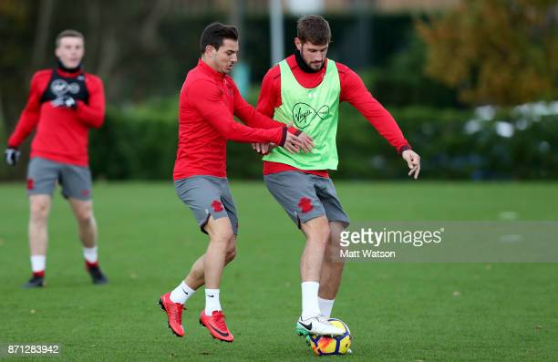 Cedric and Jack Stephens during a Southampton FC training session at the Staplewood Campus on November 7 2017 in Southampton England