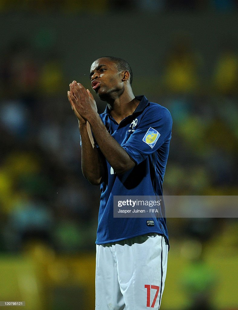 <a gi-track='captionPersonalityLinkClicked' href=/galleries/search?phrase=Cedric+Bakambu&family=editorial&specificpeople=7119714 ng-click='$event.stopPropagation()'>Cedric Bakambu</a> of France reacts during the FIFA U-20 World Cup Colombia 2011 round of 16 match between France and Ecuador at the Estadio Olimpico Jaime Moron Leon on August 10, 2011 in Cartagena, Colombia.