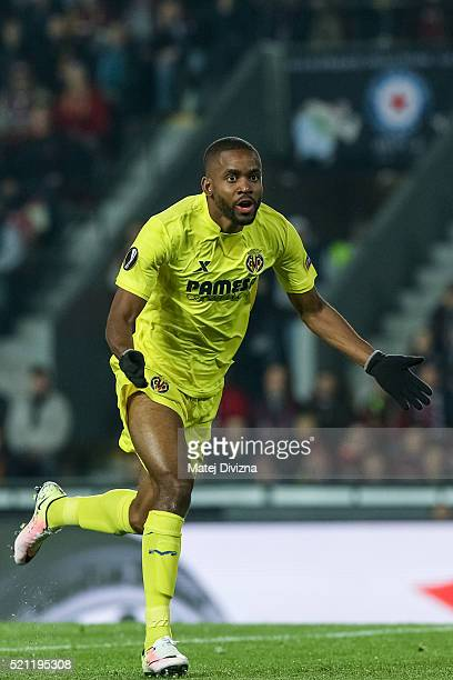 Cedric Bakambu of Villareal celebrates his goal during the UEFA Europa League Quarter Final second leg match between Sparta Prague and Villareal CF...