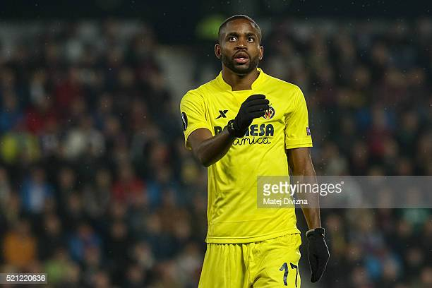 Cedric Bakambu of Villareal in action during the UEFA Europa League Quarter Final second leg match between Sparta Prague and Villareal CF on April 14...