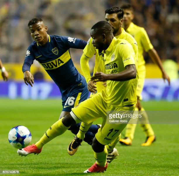 Cedric Bakambu of Villarreal CF kicks the ball during the international friendly match between Boca Juniors and Villarreal CF at Alberto J Armando...