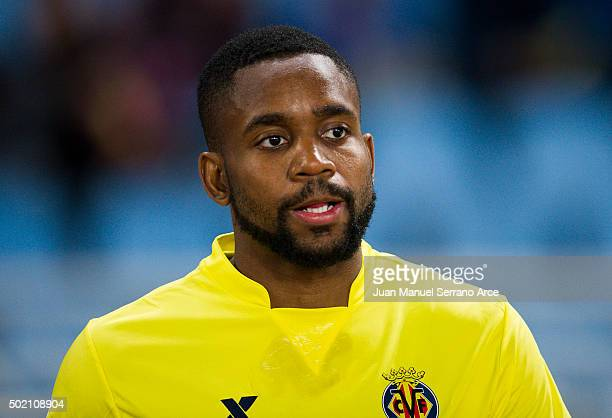 Cedric Bakambu of Villarreal CF looks on prior to the start the La Liga match between Real Sociedad de Futbol and Villarreal CF at Estadio Anoeta on...