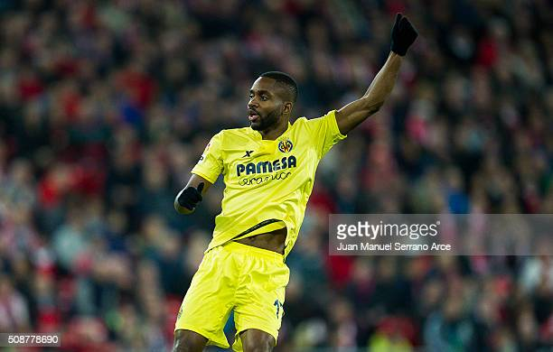 Cedric Bakambu of Villarreal CF reacts during the La Liga match between Athletic Club Bilbao and Villarreal CF at San Mames Stadium on February 6...