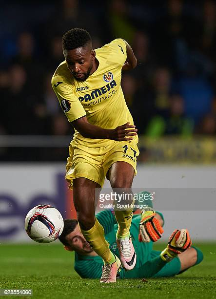 Cedric Bakambu of Villarreal competes for the ball with Florin Nita of Steaua Bucuresti during the UEFA Europa League group L match between...
