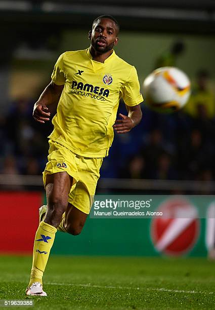 Cedric Bakambu of Villarreal in action during the UEFA Europa League Quarter Final first leg match between Villarreal CF and Sparta Prague at El...