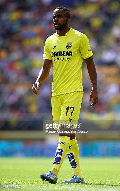 Cedric Bakambu of Villarreal looks on during the La Liga match between Villarreal CF and RC Celta de Vigo at El Madrigal Stadium on October 18 2015...
