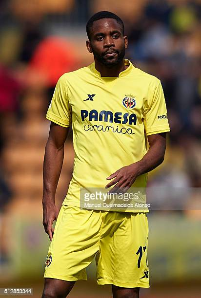 Cedric Bakambu of Villarreal looks on during the La Liga match between Villarreal CF and Levante UD at El Madrigal on February 28 2016 in Villarreal...