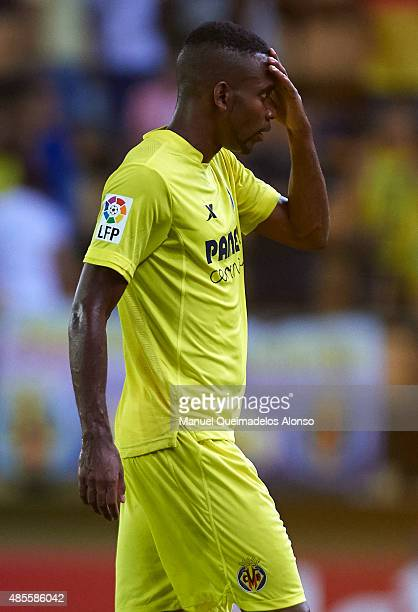 Cedric Bakambu of Villarreal reacts at the end of the La Liga match between Villarreal CF and RCD Espanyol at El Madrigal Stadium on August 28 2015...