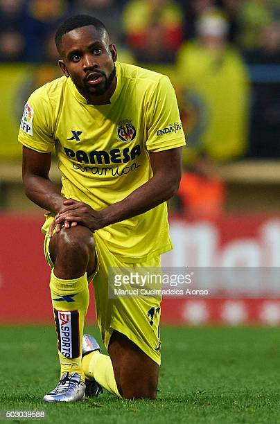 Cedric Bakambu of Villarreal reacts during the La Liga match between Villarreal CF and Valencia CF at El Madrigal on December 31 2015 in Villarreal...