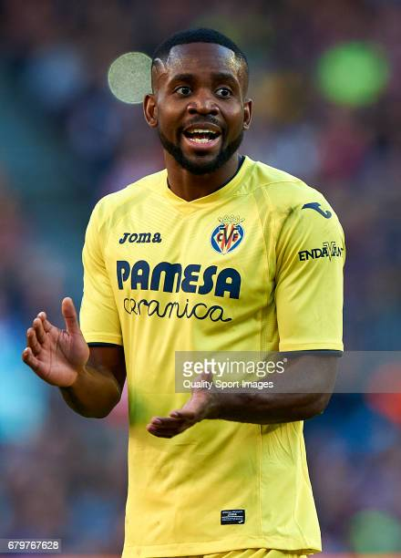 Cedric Bakambu of Villarreal reacts during the La Liga match between FC Barcelona and Villarreal CF at Camp Nou Stadium on May 6 2017 in Barcelona...