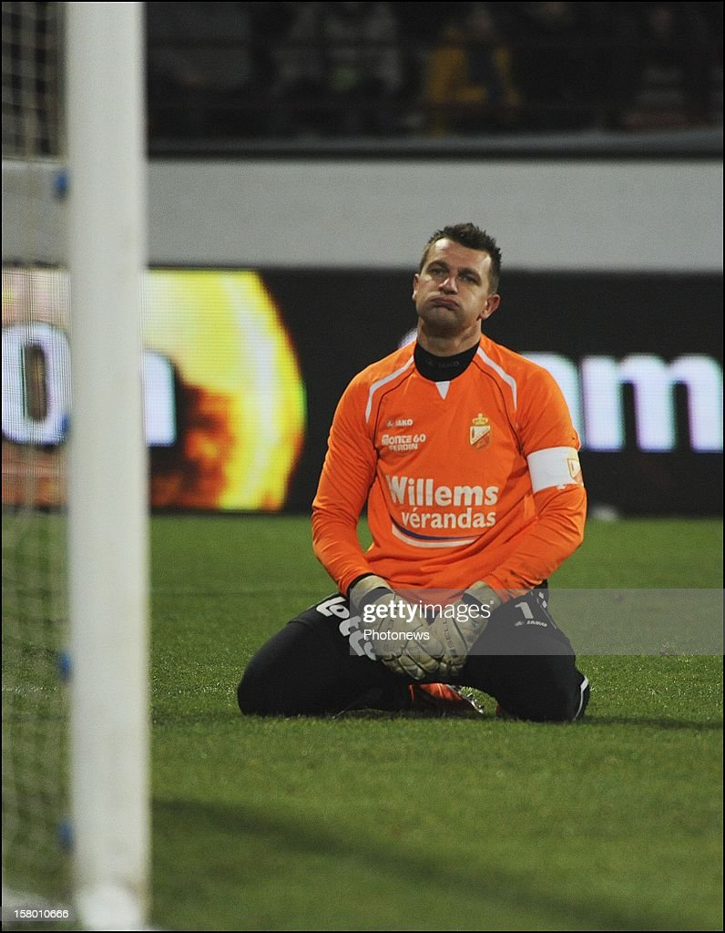 MONS, BELGIUM - DECEMBER 08 Cedric Berthelin (RAEC Mons) looks dejected during the Jupiler League match between RAEC MONS vs RSC Anderlecht on December 08 , 2012 in Mons, Belgium.
