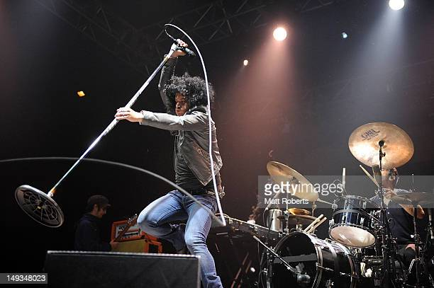 Cedric BixlerZavala of At The DriveIn performs on stage at Splendour In The Grass on July 27 2012 in Byron Bay Australia