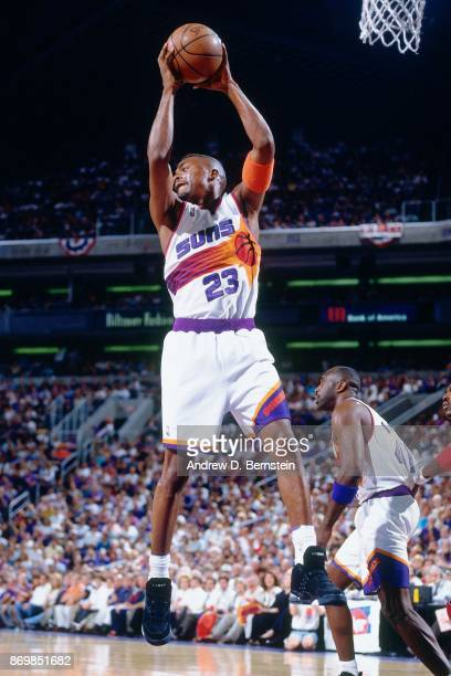 Cedric Ceballos of the Phoenix Suns rebounds against the Houston Rockets during Game Three of the Western Conference Semifinals played on May 13 1994...