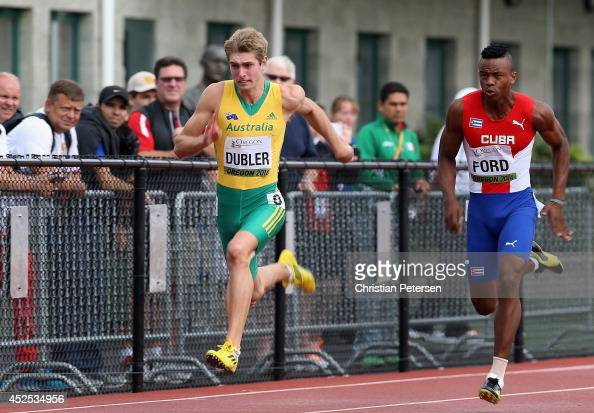 Cedric Dubler of Australia competes in the men's 100m decathlon heat during day one of the IAAF World Junior Championships at Hayward Field on July...