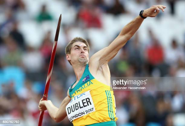 Cedric Dubler of Australia competes in the Men's Decathlon Javelin during day nine of the 16th IAAF World Athletics Championships London 2017 at The...