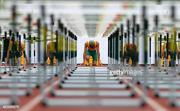 Cedric Dubler of Australia gets set in the blocks for the start of the 110m hurdle portion of the men's decathlon during day two of the IAAF World...