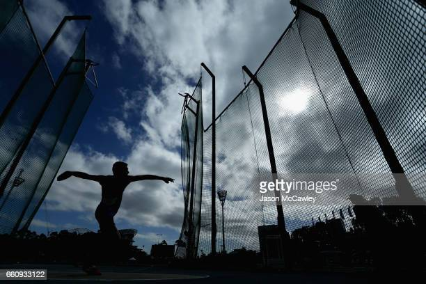 Cedric Dubler of Queensland competes in the mens open decathlon discus throw during day six of the Australian Athletics Championships at Sydney...