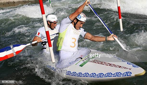 Cedric Forgit and Martin Braud of France compete in the 2008 Beijing Olympic Games Men's doubles Canoe C2 slalom final on August 15 2008 at the...