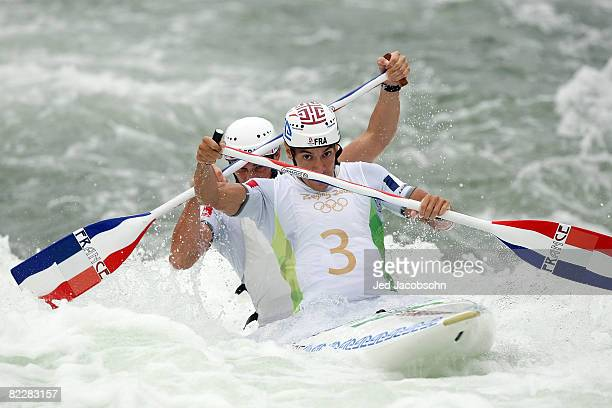 Cedric Forgit and Martin Braud of France compete in the canoe/kayak slalom event at the Shunyi Olympic RowingCanoeing Park during Day 5 of the...
