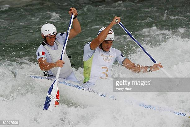 Cedric Forgit and Martin Braud of France compete in the canoe/kayak slalom event at the Shunyi Olympic RowingCanoeing Park during Day 6 of the...