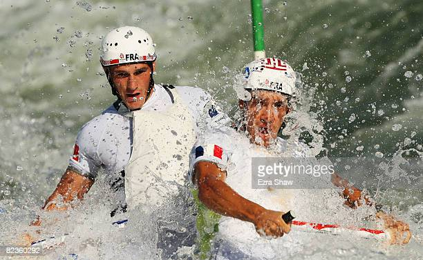 Cedric Forgit and Martin Braud of France compete in the Canoe/Kayak Slalom event at the Shunyi Olympic RowingCanoeing Park on Day 7 of the Beijing...