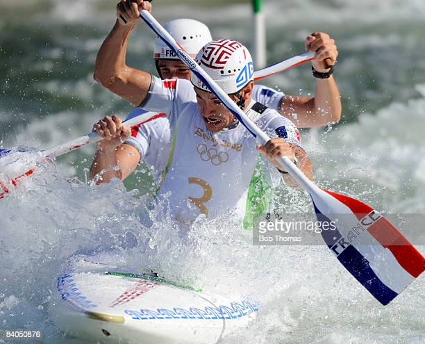 Cedric Forgit and Martin Braud of France compete in the Men's Canoe Double Final at the Shunyi Olympic RowingCanoeing Park on Day 7 of the Beijing...