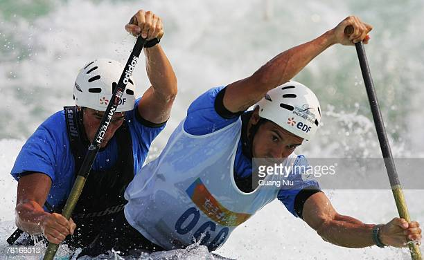 Cedric Forgit and Martin Braud of France compete in the men's double Canoe Slalom Racing during day three of the Good Luck Beijing 2007 Canoe/Kayak...