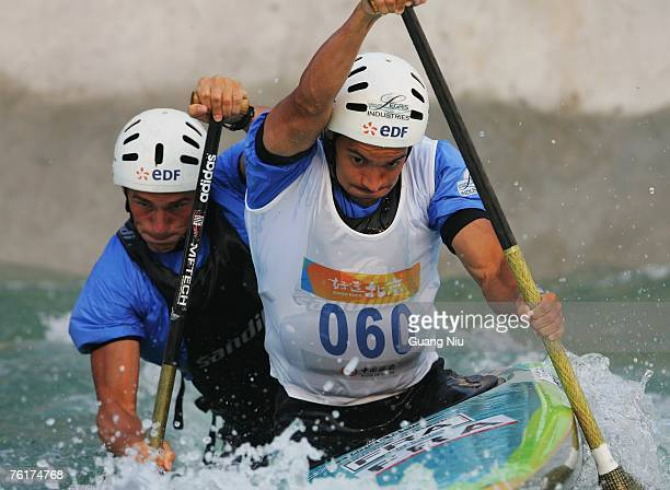Cedric Forgit and Martin Braud of France compete in the men's double Canoe Slalom Racing during day four of the Good Luck Beijing 2007 Canoe/Kayak...