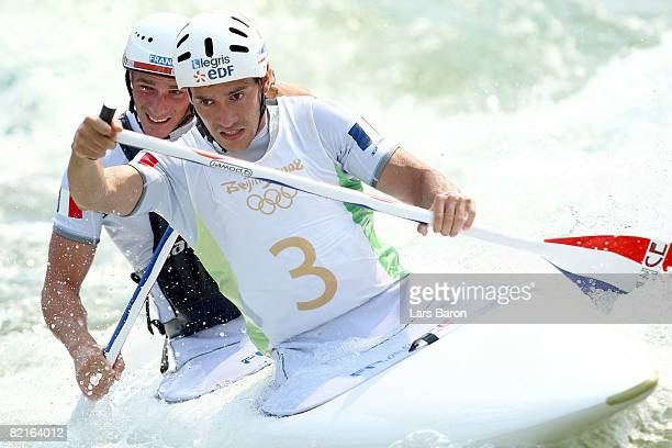 Cedric Forgit and Martin Braud of France practice at the Shunyi Olympic RowingCanoeing Park ahead of the Beijing 2008 Olympic Games on August 3 2008...