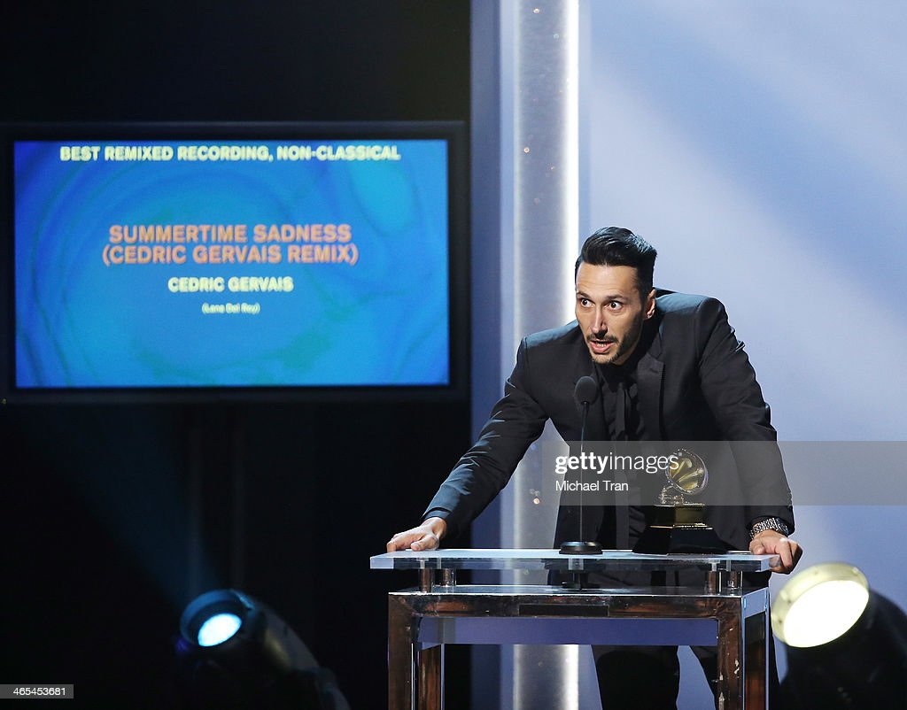 Cedric Gervais accepts the Best Remixed Recording, Non-Classical Award for 'Summertime Sadness' speaks onstage during the 56th GRAMMY Awards held at Staples Center on January 26, 2014 in Los Angeles, California.
