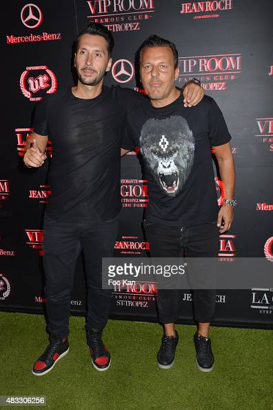 Cedric Gervais and Jean Roch Pedri attend the Cedric Gervais DJ Set Party at the VIP Room Saint Tropez on August 6 2015 in SaintTropez France