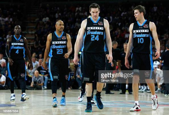 L_R Cedric Jackson CJ Bruton Dillon Boucher and Tom Abercrombie of the Breakers during game one of the NBL Grand Final series between the New Zealand...