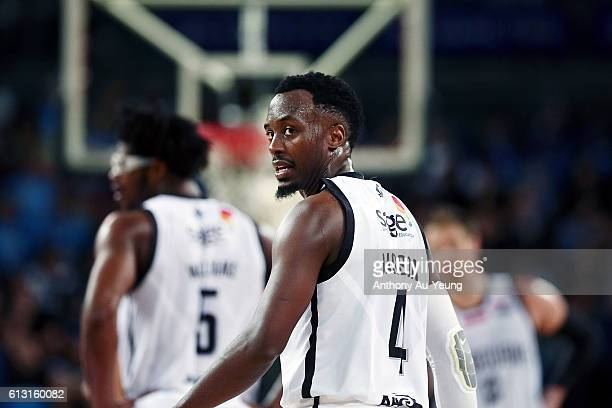 Cedric Jackson of Melbourne looks on during the round one NBL match between the New Zealand Breakers and Melbourne United at Vector Arena on October...
