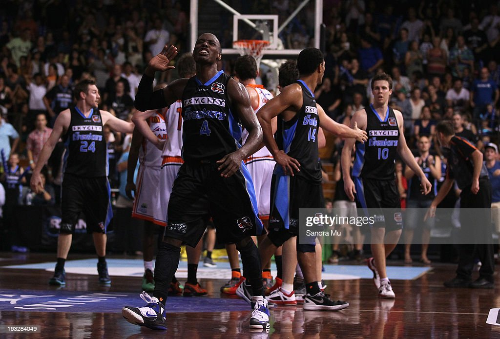 Cedric Jackson of the Breakers asks for the crowds support during the round 22 NBL match between the New Zealand Breakers and the Cairns Taipans at North Shore Events Centre on March 7, 2013 in Auckland, New Zealand.