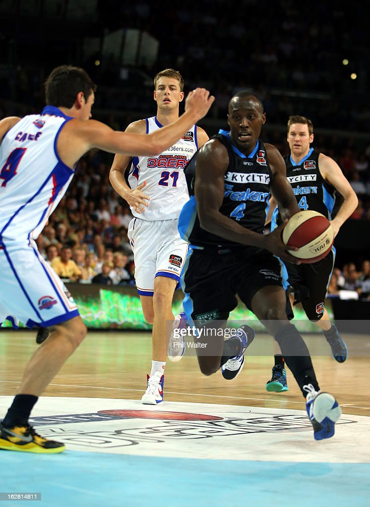 Cedric Jackson of the Breakers runs the ball forward during the round 21 NBL match between the New Zealand Breakers and the Adelaide 36ers at Vector Arena on February 28, 2013 in Auckland, New Zealand.