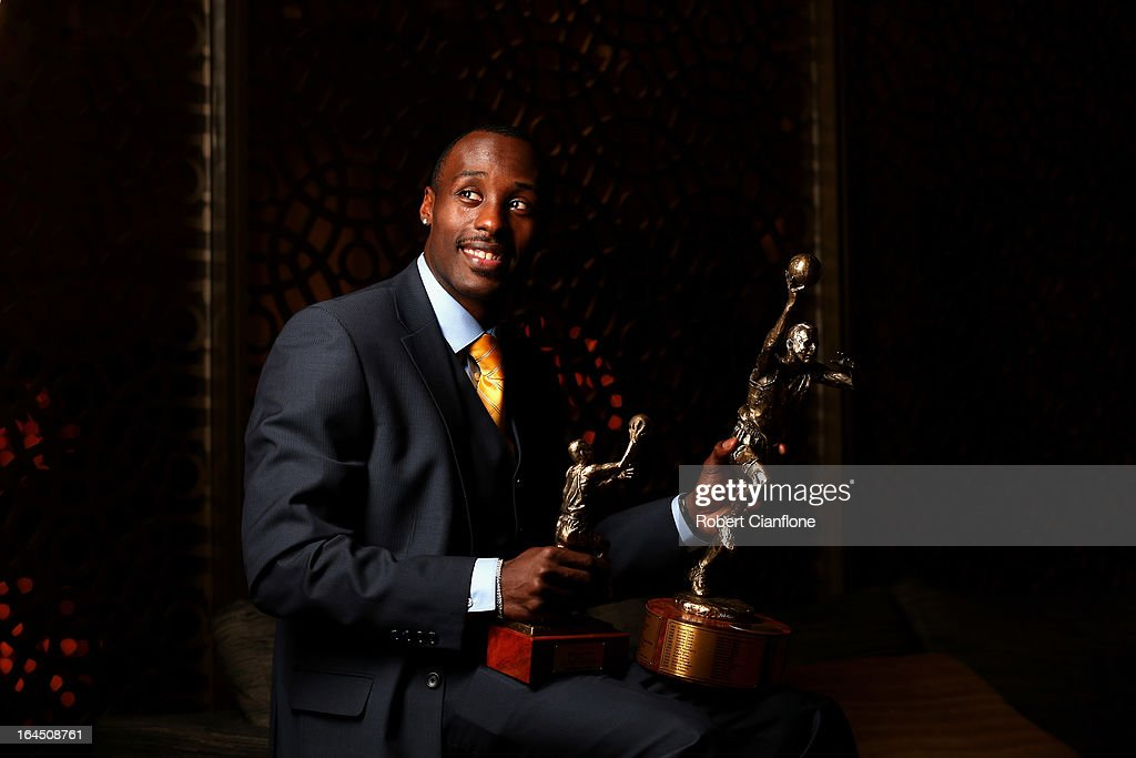 Cedric Jackson of the New Zealand Breakers poses after winning the NBL Most Valuable Player Award during the 2013 Basketball Australia MVP Awards at Crown Palladium on March 24, 2013 in Melbourne, Australia.
