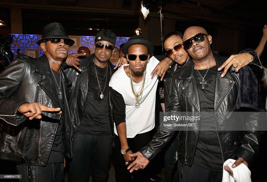 Cedric 'KCi' Hailey Dalvin DeGrate of Jodeci rapper BoB DeVante Swing and Joel 'Jojo' Hailey of Jodeci attend the 2014 Soul Train Music Awards at the...