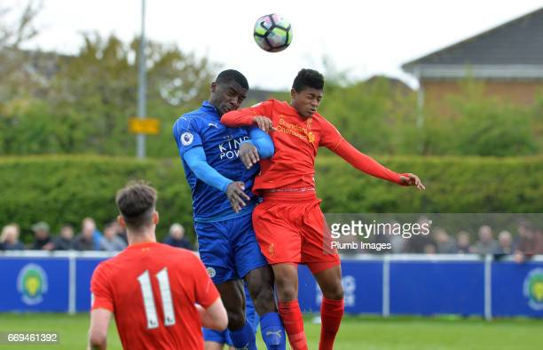 Cedric Kipre of Leicester City against Rhian Brewster of Liverpool during the game between Leicester City and Liverpool Premier League 2 match at...
