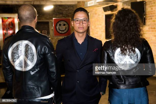 Cedric Marlow artist Romulo Kuranyi and Isabel von Staudt during Romulo's 'Farbenspiel' exhibition opening at Hotel Provocateur on October 18 2017 in...