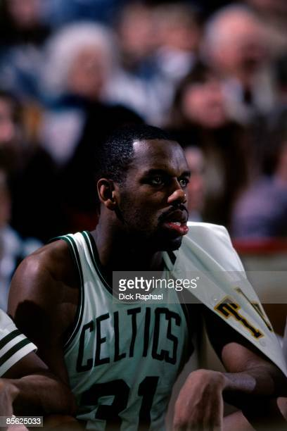 Cedric Maxwell of the Boston Celtics takes a rest on the bench during a game played in 1982 at the Boston Garden in Boston Massachusetts NOTE TO USER...