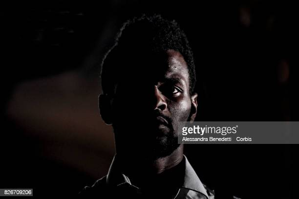 Cedric Musau from Congo performs AfricaBar stage show on July 31 2017 in Rome Italy Aim of this project was to give asylum seekers a stage for their...