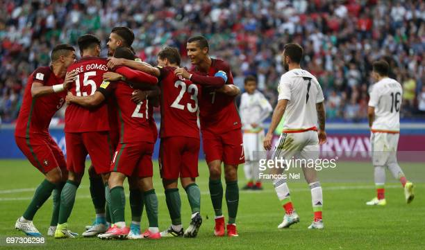 Cedric of Portugal celebrates scoring his sides second goal with his Portugal team mates during the FIFA Confederations Cup Russia 2017 Group A match...