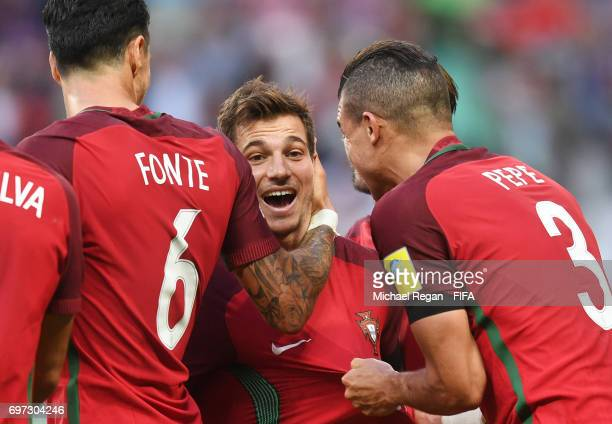 Cedric of Portugal celebrates scoring his sidews second goal with Jose Fonte of Portugal and Pepe of Portugal during the FIFA Confederations Cup...