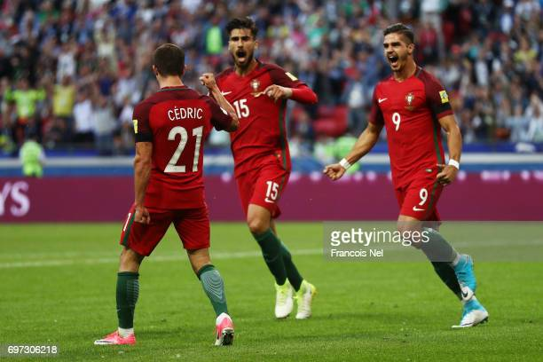 Cedric of Prtugal celebrates scoring his sides second goal with Andre Silva of Portugal and Andre Gomes of Portugal during the FIFA Confederations...