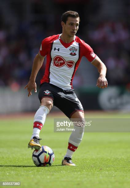 Cedric of Southampton in action during the Premier League match between Southampton and West Ham United at St Mary's Stadium on August 19 2017 in...