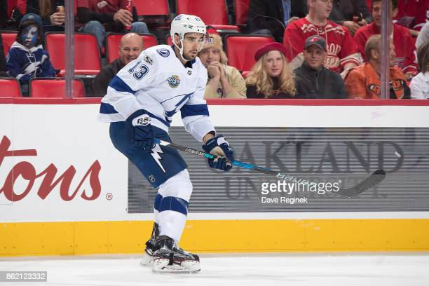 Cedric Paquette of the Tampa Bay Lightning follows the play during an NHL game against the Detroit Red Wings at Little Caesars Arena on October 16...