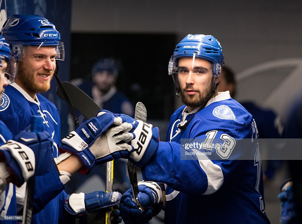 <a gi-track='captionPersonalityLinkClicked' href=/galleries/search?phrase=Cedric+Paquette&family=editorial&specificpeople=9491385 ng-click='$event.stopPropagation()'>Cedric Paquette</a> #13 of the Tampa Bay Lightning gets ready for the game against the Pittsburgh Penguins and Game Six of the Eastern Conference Finals in the 2016 NHL Stanley Cup Playoffs at the Amalie Arena on May 24, 2016 in Tampa, Florida.