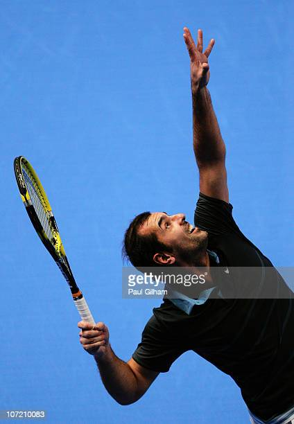 Cedric Pioline of France serves during the match between Yevgeny Kafelnikov and Cedric Pioline on day one of the AEGON Masters 2010 at the Royal...